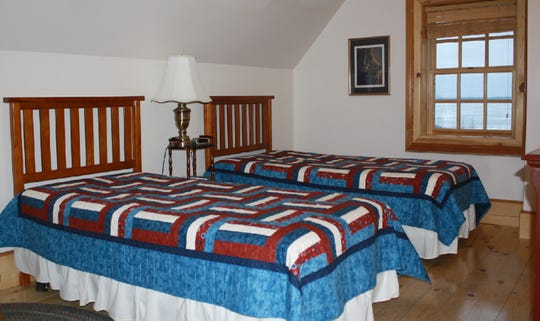 This is the bedroom inside the main keepers quarters at the Tawas Point LIghthouse.