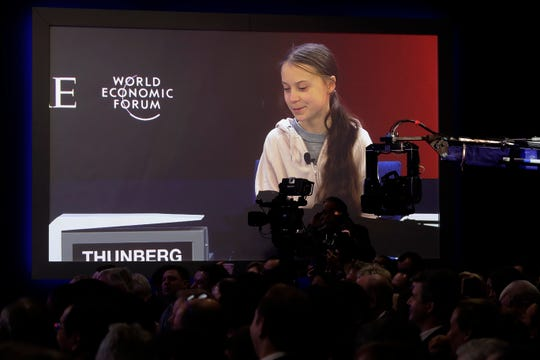 Swedish environmental activist Greta Thunberg addresses the World Economic Forum in Davos, Switzerland, Tuesday, Jan. 21, 2020. The 50th annual meeting of the forum will take place in Davos from Jan. 20 until Jan. 24, 2020.