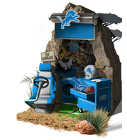The Detroit Lions dwelling in the Lowe's Hometown display at Super Bowl LIV in Miami.