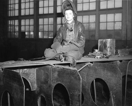 "This photo of a welder at Leathem D. Smith working during World War I is part of ""Built for Battle,"" a new exhibit at the Door County Maritime Museum about WWII ships built in Sturgeon Bay."