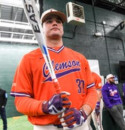 Clemson sophomore pitcher Davis Sharpe (30) swings in the batting cages during the first official team Spring practice at Doug Kingsmore Stadium in Clemson Friday, January 24, 2020.