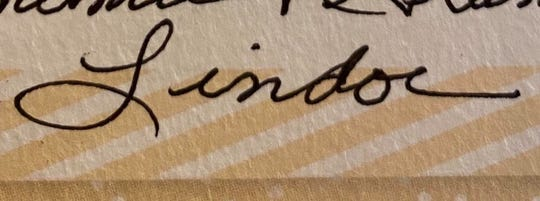 The new logo for Lindough, the bakery concept formerly known as Clemson Confectioneries, will be written in owner Brandi Lindoe's grandmother's handwriting. It is an homage to her grandmother's baking skills and her supportive family, Lindoe said Friday in a YouTube video announcement.