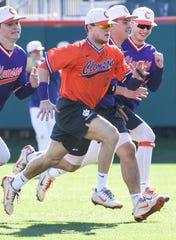 Clemson baseball player Michael Green during practice in January 2019 at Clemson.