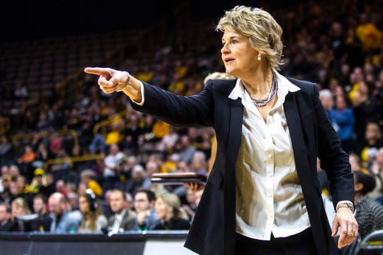 Iowa head coach Lisa Bluder calls out to an official during a NCAA Big Ten Conference women's basketball game, Thursday, Jan. 23, 2020, at Carver-Hawkeye Arena in Iowa City, Iowa.