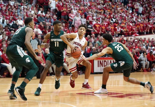 Indiana Hoosiers guard Rob Phinisee (10) drives to the basket during the game against Michigan State at Simon Skjodt Assembly Hall in Bloomington, Ind., on Thursday, Jan. 23, 2020.