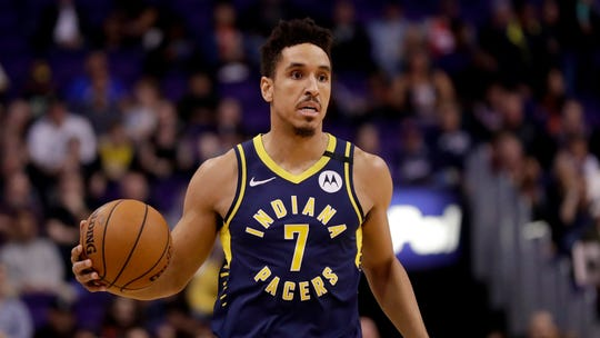Indiana Pacers guard Malcolm Brogdon during the second half of an NBA basketball game against the Phoenix Suns, Wednesday, Jan. 22, 2020, in Phoenix.