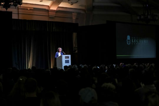 Activist and lawyer Anita Hill speaks during a University of Iowa Lecture Committee event on Thursday, Jan. 23, 2020 at the Iowa Memorial Union in Iowa City, Iowa.