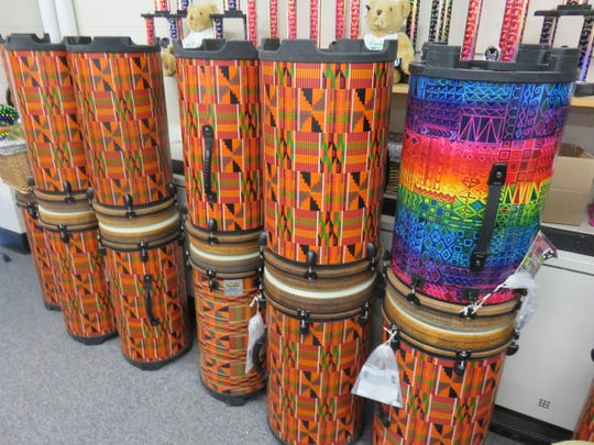 Colorful drums, shown on Jan. 22, 2020, are used in the music program at Cedar Bluff Middle School.