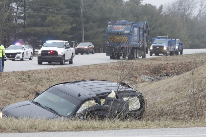 The driver of this northbound Chevy Tahoe was injured Friday morning in a crash with a westbound Republic trash truck at Indiana 38 and Tippecanoe County Road 900 East.