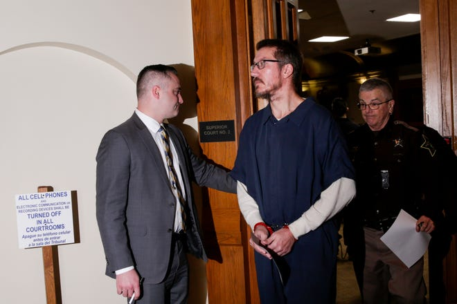 Joseph W. Kruger is led out of Superior Court 2 after a change of plea hearing in front of Tippecanoe Superior 2 Judge Steven Meyer, Friday, Jan. 24, 2020 at the Tippecanoe County Courthouse in Lafayette. Kruger, who prosecutors say is the fake-bearded bank robbery suspect, is charged with four counts of armed robbery, four counts of theft and one count of being an habitual offender.