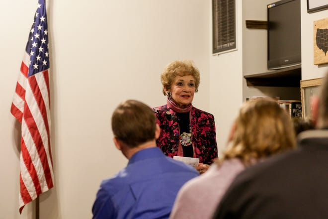 State Rep. Sheila Klinker, D-Lafayette, speaks during a campaign event announcing her re-election bid for her 20th term, Thursday, Jan. 23, 2020 at the Tippecanoe County Democratic Party Headquarters in Lafayette.