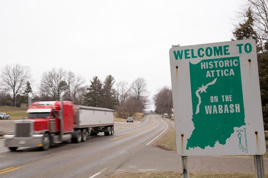 A truck drives along State Road 28, Thursday, Jan. 23, 2020 in Attica.