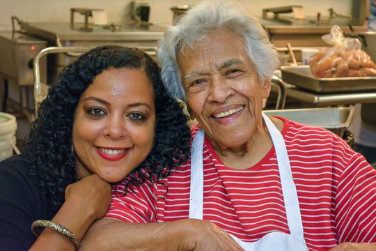 Zella Palmer (left) with Leah Chase.