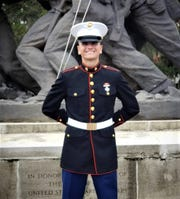 Private Caden Nettles poses in front of the Marine monument on Parris Island. A Lancaster High School graduate, he planned on serving in the US Marine Corps since 1st grade.