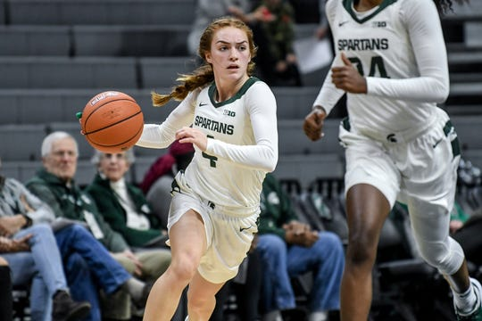 Michigan State's Taryn McCutcheon moves with the ball during the third quarter on Thursday, Jan. 23, 2020, at the Breslin Center in East Lansing.