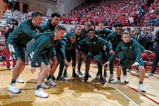 Jan 23, 2020; Bloomington, Indiana, USA; Michigan State Spartans huddle up during player introductions before the game against the Indiana Hoosiers at Simon Skjodt Assembly Hall. Mandatory Credit: Brian Spurlock-USA TODAY Sports