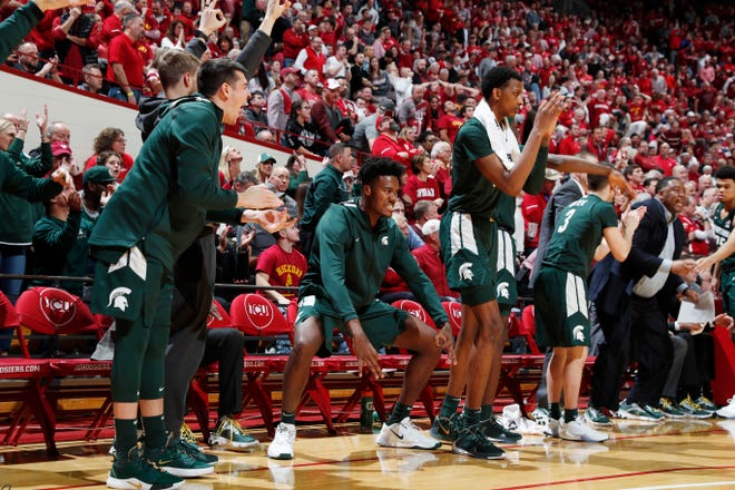 Jan 23, 2020; Bloomington, Indiana, USA; Michigan State Spartans bench reacts to a three point shot scored against the Indiana Hoosiers during the second half at Simon Skjodt Assembly Hall.