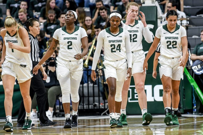 Michigan State teammates walks back to the bench during a timeout  during the third quarter of the Spartans game against Northwestern on Thursday, Jan. 23, 2020, at the Breslin Center in East Lansing.