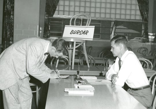 Paul Cramer, first student to enroll at OSU-Marion in 1957. The first classes took place at Harding High School during the late afternoon and evening each weekday, so as not to interfere with the regular high school schedule.