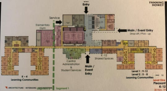 This architect's rendering shows how the new Pleasant Local Schools K-12 facility will be configured. The elementary portion of the building is located left of the green dotted line. The middle and high school sections are located on the right side of the building.