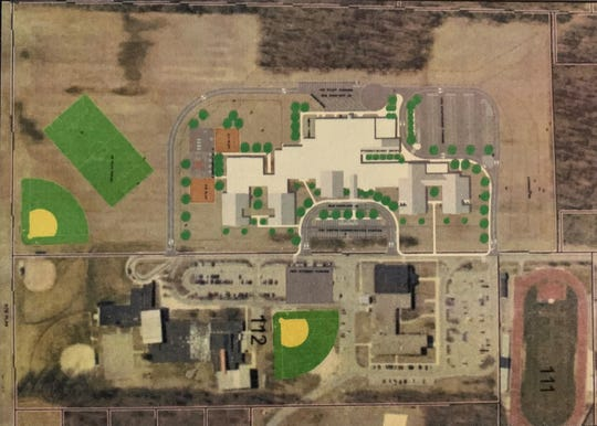 The proposed location of the new K-12 facility for Pleasant Local Schools is shown in the upper section of this photograph. Superintendent Jennifer Adams gave an update about the facility during the state of the schools event held Thursday evening. The current Pleasant high school and elementary school buildings are shown in the bottom portion of the photo. A groundbreaking ceremony for the project is scheduled for Thursday, May 21.