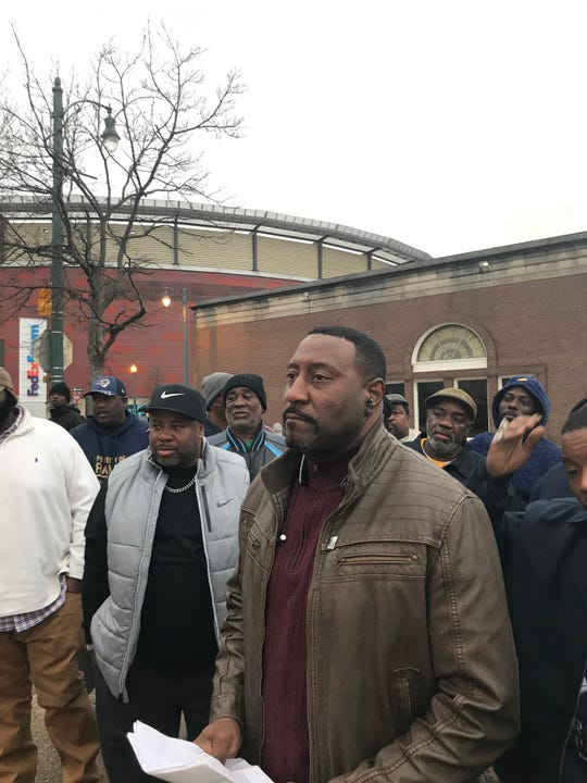 Maurice Spivey, a Memphis solid waste employee and about 30 of his colleagues, spoke to reporters at 4th St. S. and Beale St. on Friday.