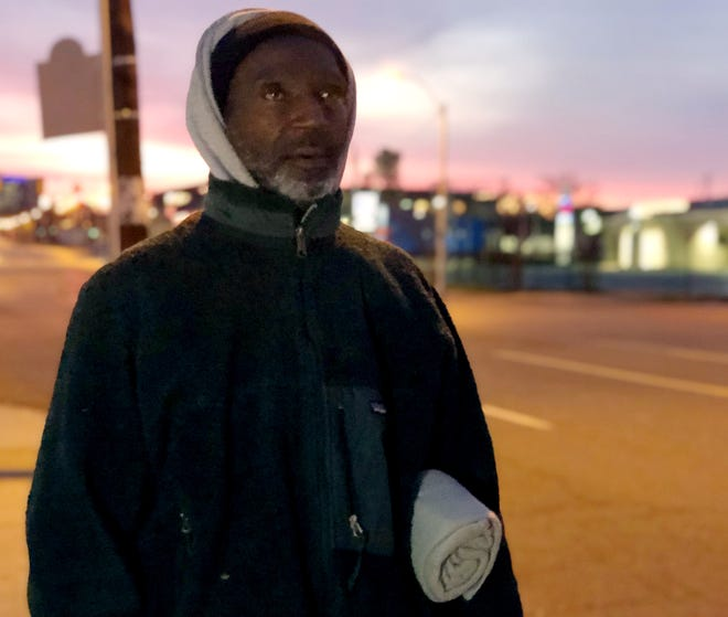 At dawn on January 22, 2020, Larry Jackson stopped to talk on his way to catch a bus, holding a fleece blanket donated by volunteers conducting the annual Point-In-Time count of people experiencing homelessness.