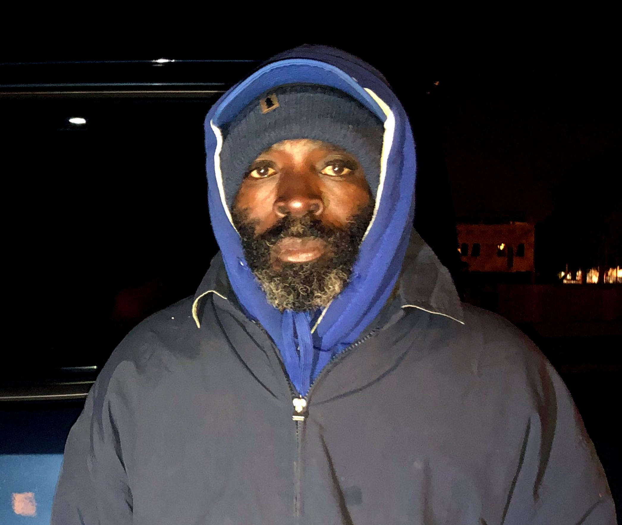 Terress Palmore, 52, knocked on the door of the St. Vincent DePaul soup kitchen building as Room in the Inn volunteers were settling their guests for the night. Palmore said he'd been panhandling to raise money for the room he and his wife rented, but the temperature had dropped too low for him to continue. Room in the Inn volunteers supplied him with two coats, blankets, a sleeping mat and a ride back to his lodging for the night, on January 21, 2020.