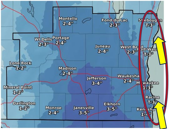 Yet another round of snow is expected across southern Wisconsin overnight Friday into Saturday, but areas near Lake Michigan might only see a trace of snow.