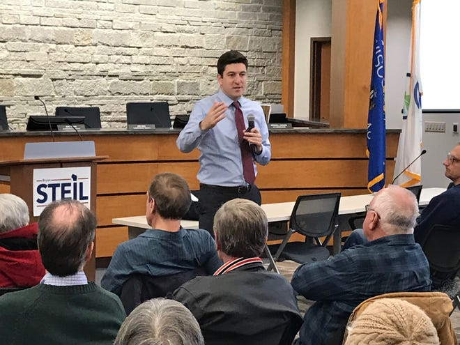 U.S. Rep. Bryan Steil, a Janesville Republican, speaks with constituents Friday, Jan. 24, 2020, at a town hall at the Oak Creek Civic Center.