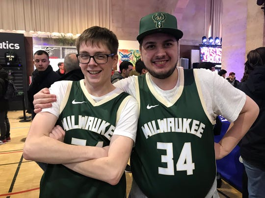 Martin Benard and his friend Nicola Christianing are Giannis Antetokounmpo fans who haven't been able to buy the All-Star's jersey until visiting the NBA House in Paris Friday afternoon. The Frenchmen wanted to go to Friday's game but didn't win the lottery for tickets.