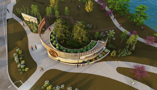 The proposed gateway feature at the northeast corner of Mequon and Cedarburg roads would feature a semicircular walkway adorned with logos for the Mequon and Thiensville communities.