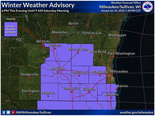 A winter weather advisory is in effect for areas of southern Wisconsin away from Lake Michigan.