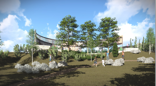 The Mequon-Thiensville Town Center gateway feature would overlook the Milwaukee River.