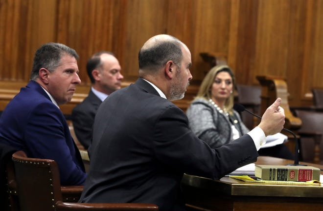 Glendale Mayor Bryan Kennedy, left, and attorney Matthew O'Neill argue that his county executive nomination papers should be accepted during a hearing before Milwaukee County Circuit Judge Kevin Martens on Friday.