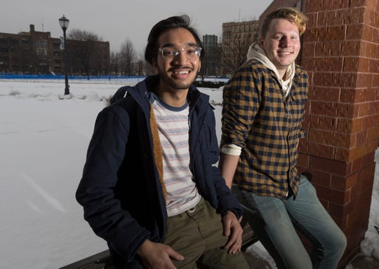 Marquette University students Maaz Ahmed, left, and Eric Rorholm will be taking part in a satellite site for the Iowa caucuses on February 3.  Ahmed is from Bettendorf, Iowa and will be voting while Rorholm, of Spokane, Wash., will serve as the caucus chair.