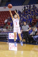 Louisiana Tech junior guard Raizel Guinto (1) puts up a 3-point shot earlier this season.