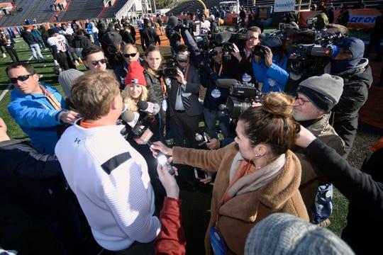 Auburn coach Gus Malzahn talks to reporters at Senior Bowl practice on Tuesday, Jan. 21, 2020 in Mobile, Ala.