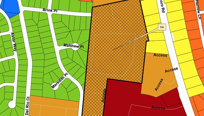 A map of the proposed rezoning and where the apartments will sit.
