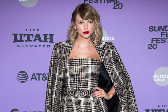 "Taylor Swift attends the premiere of ""Miss Americana"" at the Eccles Theater during the 2020 Sundance Film Festival on Thursday, Jan. 23, 2020, in Park City, Utah."
