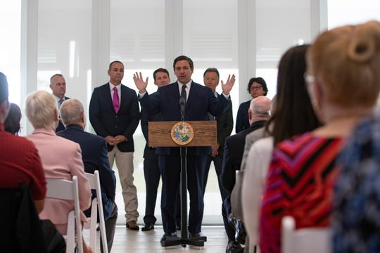 Florida Gov. Ron DeSantis delivers brief remarks about Florida education standards, Friday, Jan. 24, 2020, at Baker Park in Naples.