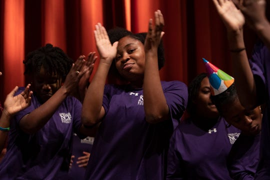 Members of the Immokalee Middle School Step Team entertain patrons and guests during the Meet the Kids Day event, Friday. Jan. 24, 2020, at Artis—Naples.