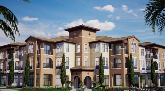 A rendering of the rental apartments at Estero Crossing, located south of Corkscrew Road in the village of Estero.