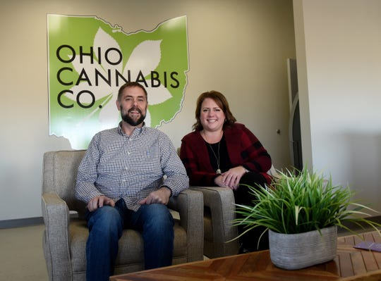 Co-owners of Ohio Cannabis Company, Brian Wingfield and Cindy Bradford, in the waiting area and lobby of the Coshocton company.
