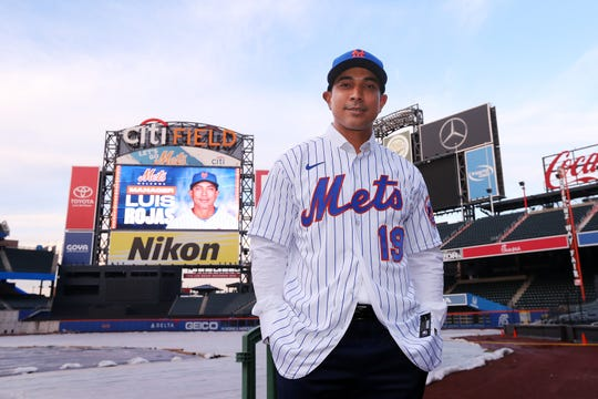 Luis Rojas, the new manager of the New York Mets poses for photos after his introductory press conference at Citi Field on January 24, 2020 in New York City. Rojas had been the Mets quality control coach and was tapped as a replacement after the newly hired Carlos Beltran was implicated for his role as a player in 2017 in the Houston Astros sign-stealing scandal.