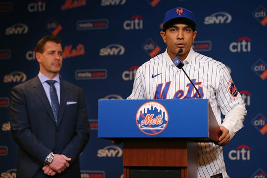 Luis Rojas speaks after being introduced as the new manager of the New York Mets on Jan. 24.
