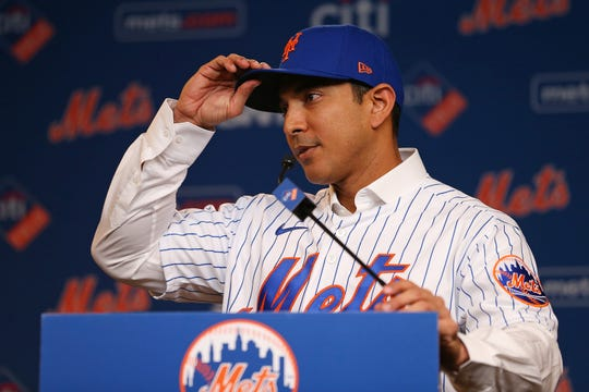 Luis Rojas speaks after being introduced as the new manager of the New York Mets at Citi Field on January 24, 2020 in New York City. Rojas had been the Mets quality control coach and was tapped as a replacement after the newly hired Carlos Beltran was implicated for his role as a player in 2017 in the Houston Astros sign-stealing scandal.