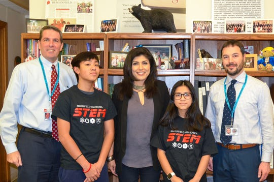 Bergenfield High School was recently named a New Jersey State Winner in the Samsung Solve for Tomorrow Contest. Seen in the photo from left, James Fasano, BHS principal, student Joshua Naviamos, Anu Thadani, BHS STEM advisor/teacher, student Juliana Roque, and Steven Neff, BHS supervisor of science and arts.