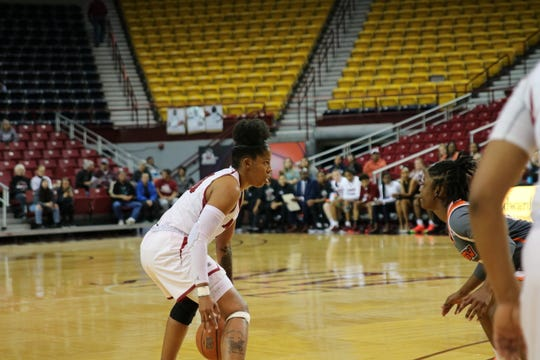 New Mexico State forward Gia Pack looks to drive against Texas Rio Grande Valley on Thursday at the Pan American Center.