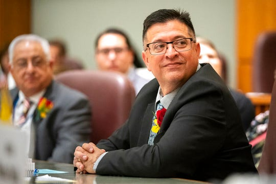 State Sen. Gabriel Ramos listens during the first day of the 2020 New Mexico Legislative session in Santa Fe, N.M., Tuesday, Jan. 21, 2020.